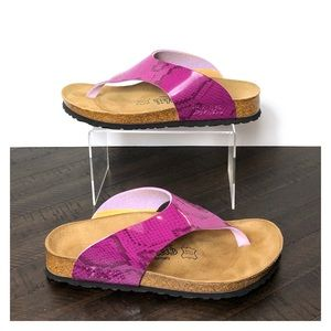 Birki's by Birkenstock Berry Python Thong Sandals